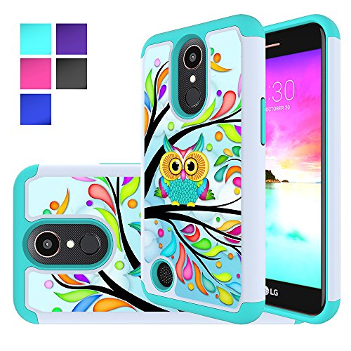 LG K20 V Case, LG K10 2017 Case, LG K20 Plus Case, LG LV5 Case, MicroP Hybrid Dual Layer Silicone Plastic Armor Defender Phone Case Cover for LG K20V / LG Harmony / LG Grace (Armor Green Owl)