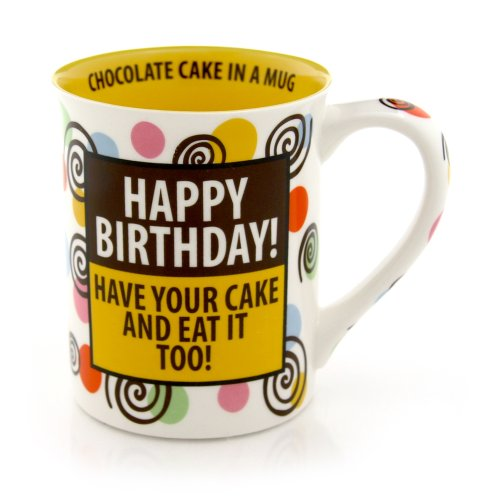 Our Name Is Mud 16-Ounce 'Happy Birthday Cake' Mug by Lorrie Veasey, 4.5-Inch