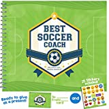 Soccer Gifts - Recognition Award Booklet For Being The Best Soccer Coach - Includes Certificate, Quotes, Frames, Stickers, Card And More - Unique Gift Idea For Players, Sports Fans, and Team Coaches