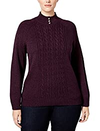 Womens Plus Cable Knit Textured Mock Turtleneck Sweater