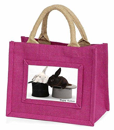 Advanta Top Hat Kaninchen Happy Easter Little Mädchen Einkaufstasche Weihnachten Geschenk, Jute, pink, 25,5x 21x 2cm