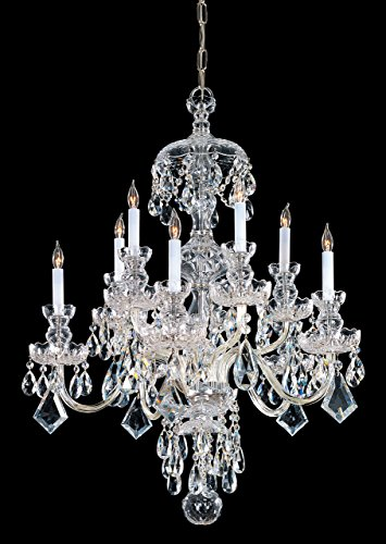 Crystorama Lighting 1140-PB-CL-SAQ Traditional 10 Light 2-Tier Chandelier, Polished Brass Finish with Clear Swarovski Spectra Crystal