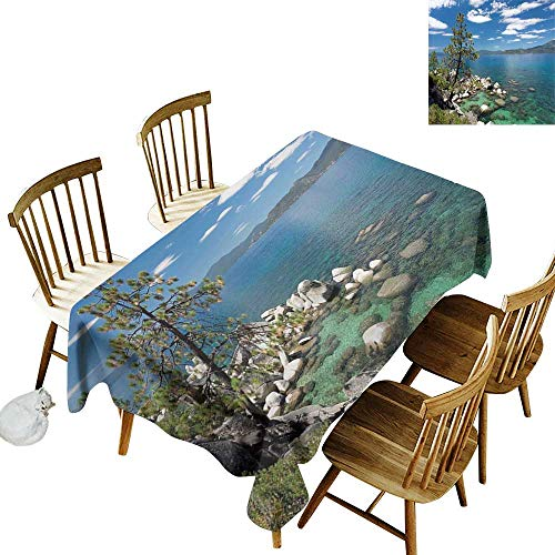 kangkaishi Nature Oil-Resistant and Durable Long Tablecloth Kitchen Available Lake Tahoe by The Lake with A Tree and Rocks Cloudy Open Sky Landscape W60 x L102 Inch Pale Blue Olive Green -