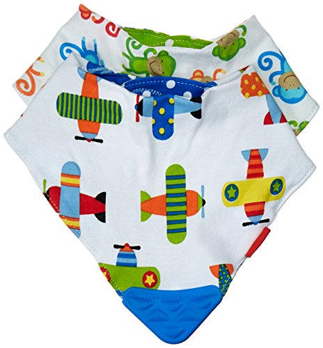 Nuby 2 Piece Bibs with Dribble Catcher and Teething Corner, Blue and Green ()