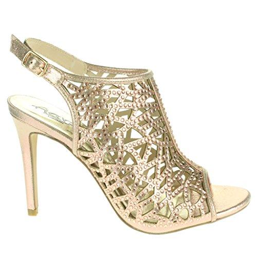Mujer Señoras Corte con laser Moda Correa de tobillo Peep Toe Boda Nupcial Noche Fiesta Paseo Tacón alto Sandalias Zapatos Tamaño Champán.