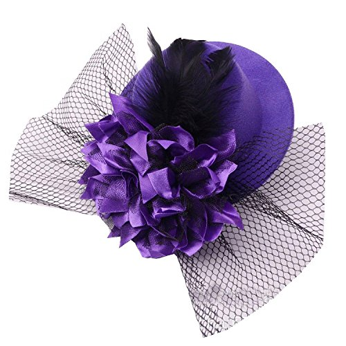 Coolr Women's Fascinator Flower Hair Clip Feather Burlesque Punk Mini Hat Purple - Purple Burlesque Costumes