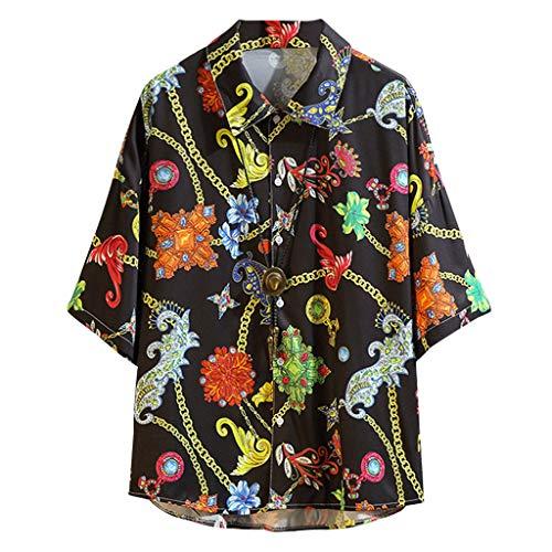 Hawaiian Style Tops Mens Summer Casual Printing Loose Short Sleeve Shirt Blouse