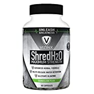 VIZINX ShredH2O 60 Capsules, This Natural Water Pill with Dandelion, Cranberry, Buchu Leaf... Effective Diuretic That Also Supports Potassium Levels, Relieves Bloating, Swelling & Water Retention.