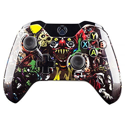 eXtremeRate Scare Party Faceplate Front Housing Shell Upper Case Top Cover Replacement Parts Mod Kits for Standard Xbox One Controller With and Without 3.5 mm jack