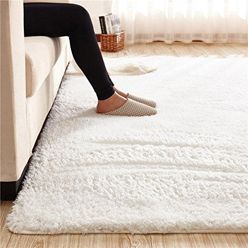 Super Soft Area Rug Kids Rugs Artic Velvet Mat with Plush and Fluff for Bedroom Floor Bathroom Pets Home Hotel Mat Rug (5' x 6.5', Pure White) (White Nursery Rug For)