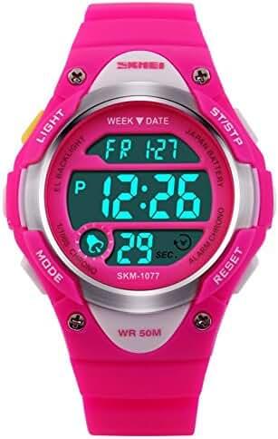 FIZILI 1077 Sport Digital Waterproof Wristwatch For Kids Boys Girls Pink