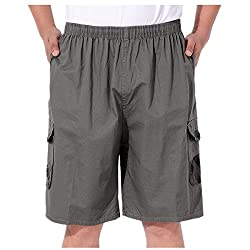 Season Show Mens Shorts Lightweight Elastic Waist Cotton Cargo Shorts Pants S Dark Grey 1