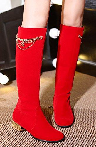 Aisun Moda Donna Catene Di Metallo Punta Rotonda Dressy Pull On Chunky Tacco Basso Stivali Alti Al Ginocchio Scarpe Rosse