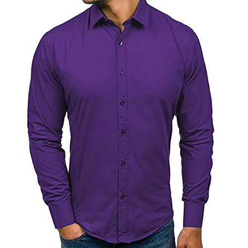 iHPH7 Shirts for Men Regular-Fit Long-Sleeve Shirt Autumn Casual Formal Slim Fit Solid Long Sleeve Dress Shirt Top Blouse (M,2- Purple)]()