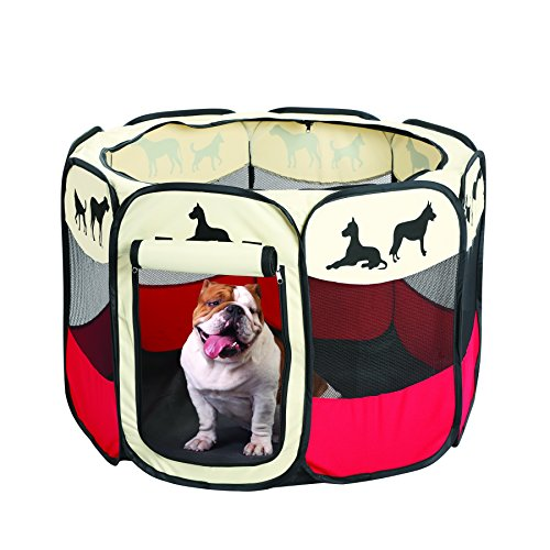 Etna Pet Portable Foldable Play Pen, Indoor/Outdoor, Dog/Cat/Puppy Exercise pen Kennel, Removable Mesh Shade Cover, dog pop up silhouettes pet pen (Medium)