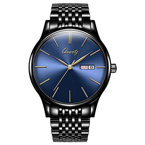 Watch Quartz Day Date (BOS Men's Ultra-Thin Stainless Steel Watch Fashion Business Wateproof Wrist Watch)