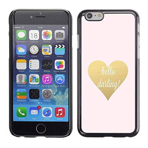 # Cellphone Hard Case PC Protective Cover Shell Case forApple Iphone 6 Plus 5.5 # hello darling gold text heart valentines # Gift Phone Case Housing #