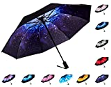Fidus Reverse/Inverted Automatic Windproof Folding Travel Umbrella - Compact Lightweight Portable Outdoor UV Protection Golf Umbrella For Women Men Kids-starry sky