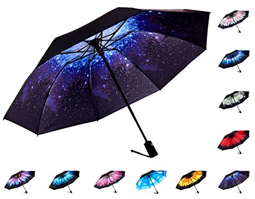Close Umbrella (Fidus Reverse/Inverted Automatic Windproof Folding Travel Umbrella - Compact Lightweight Portable Outdoor UV Protection Golf Umbrella For Women Men Kids-starry sky)