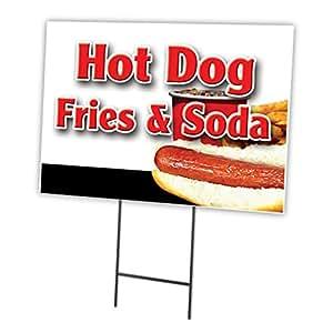 """Patatas fritas de Hot Dogs & Soda 12""""x16 Yard Sign cartucho Juego al aire libre plástico Coroplast ventana"""