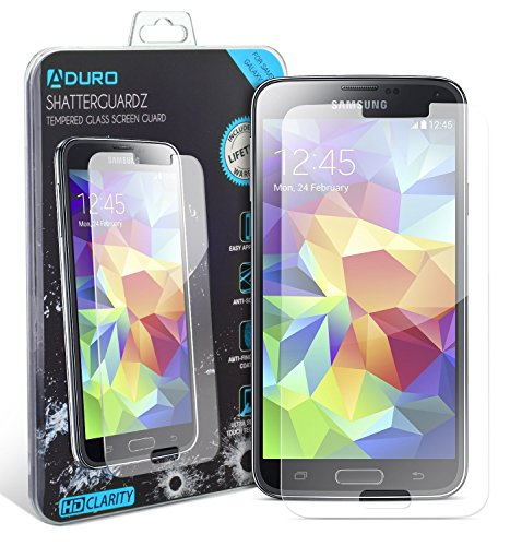 Galaxy S5 Tempered Glass Screen Protector - Aduro Shatterguardz Anti-Scratch, Anti-Fingerprint Coating, Ultra-Sensitive Touch Tech for Samsung Galaxy S5