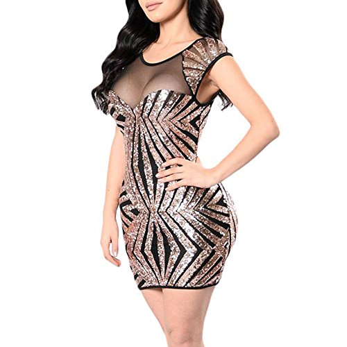 SEBOWEL Women's Mesh Sheer Sequins Sleeveless Bodycon Clubwear Club Dress Gold XL -