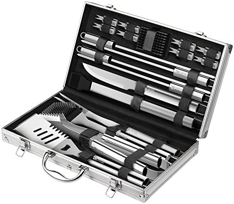 Zeppir Kitchen Professional BBQ Tools Grill Set 19-Piece Kit Heavy-Duty Stainless-Steel Utensils Barbecue Grilling Cooking Accessories Spatula, Tongs, Fork, Basting Brush More