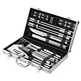 Zeppir Kitchen Professional BBQ Tools Grill Set (19-Piece Kit) Heavy-Duty Stainless-Steel Utensils | Barbecue Grilling & Cooking Accessories | Spatula, Tongs, Fork, Basting Brush & More