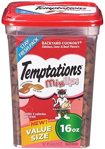 TEMPTATIONS MixUps Treats for Cats Dry Food BACKYARD COOKOUT Flavor 16 Ounces by Temptations