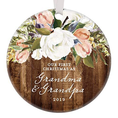- Grandparents Christmas Ornament 2019 Our First Christmas as Grandma & Grandpa, 1st Xmas Grandmom Grandpop Woodgrain Modern Farmhouse Present 3