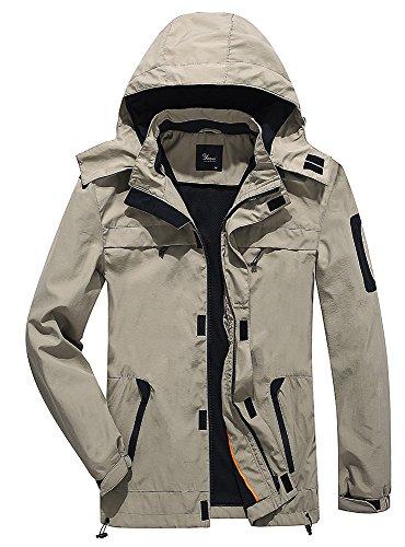 Yozai Windbreaker Mens Jacket, Men's Windproof Waterproof Lightweight Windbreaker Outdoor Causal Jacket with Hood Khaki L by Yozai