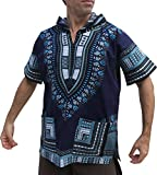 Full Funk Dashiki Light Hoody In Bright Colors Festival Party Shirt Short Sleeve, Large, Midnight Blue