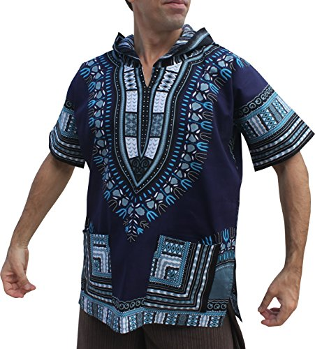 Full Funk Dashiki Light Hoody In Bright Colors Festival Party Shirt Short Sleeve, Large, Midnight Blue by Full Funk