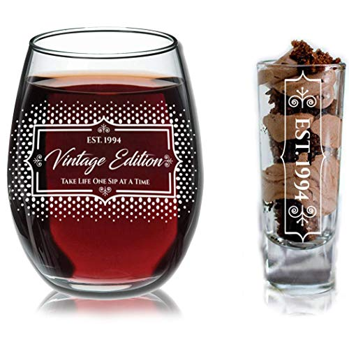 1994 25th Birthday Gifts Under $10 for Women and Men Wine Glass - Funny Vintage Birthday/Silver Anniversary Gift Ideas for Mom, Dad, Husband or Wife - Wine Glasse + Shot Glass for Red or White Wine