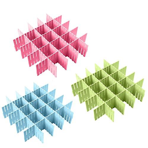 Coralpearl Plastic Desk DIY Grid Drawer Dividers Adjustable Tidy Closet Shelf Storage Organizers for Purses,Ties,Tshirts,Pens,Bras,Sock,Underwear,Scarves,Makeup,Kitchen Cutleries (Blue+Green+Pink) - Fabric 9 Pocket Organizer