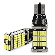 Amazon Lightning Deal 94% claimed: Safego 2pcs 1000 lumens Extremely Bright Canbus Error Free 921 912 T10 T15 SMD 4014 45pcs Chipsets LED Bulbs For Backup Reverse Lights, Xenon White 6000K CBT15-45D-4014W-2