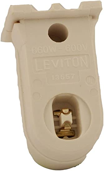 Leviton 13550-NW New Design Thermoplastic Medium Fluorescent Lampholder For T-8 And T-12 Lamps Recessed Double Contact Pedestal Type with Plunger Ends