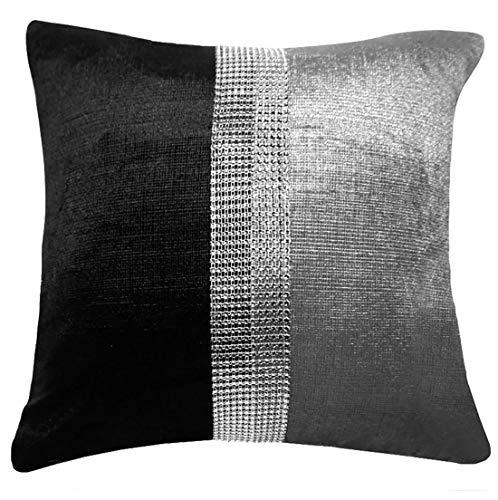 Rimi Hanger Luxury Diamond Stripe Chenille Cushion Covers Fancy 18x18 Inch Bed Cushion Cases Danza Black/Silver 18 x 18 ()