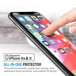 Maxboost Screen Protector for Apple iPhone XS & iPhone X (Clear, 3 Packs) 0.25mm iPhone XS/X Tempered Glass Screen Protector with Advanced Clarity [3D Touch] Work with Most Case 99% Touch Accurate by Maxboost