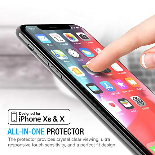 Maxboost Screen Protector for Apple iPhone XS & iPhone X (Clear, 3 Packs) 0.25mm iPhone XS/X Tempered Glass Screen Protector with Advanced Clarity [3D Touch] Work with Most Case 99% Touch Accurate