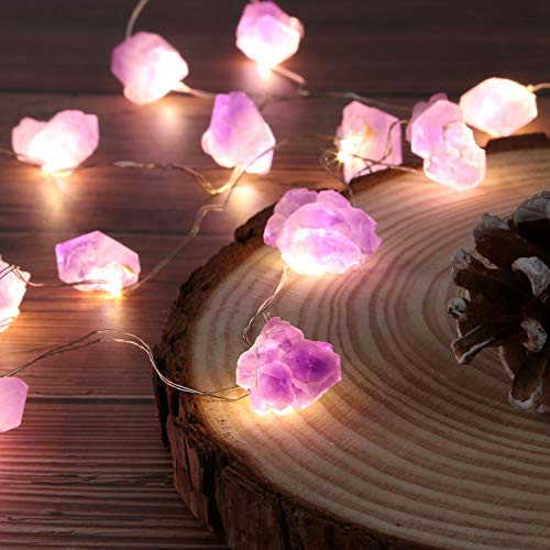Nature Genuine Amethyst Healing Crystal String Lights 10ft Battery Operated with Remote for Valentine's Day Hanging…