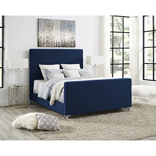 InspiredHome Blue Linen Platform Bedframe – Design: Dean | Queen Size | Modern and Contemporary | Upholstered Finish