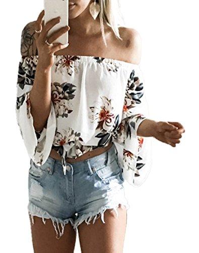 Bluse Scoperte Manica Maglie Bianca Floreale Spalle Oufour Camicie Corto Maglietta Crop Estive Top Moda Donna A Lunga Shirt wzX0tqR