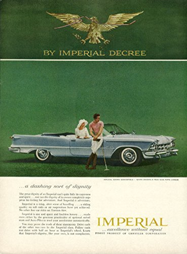 (A dashing sort of dignity Imperial Convertible by Chrysler ad 1959)