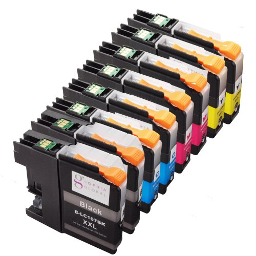 Sophia Global Compatible Ink Cartridge Replacement for LC107 XXL and LC105 XXL (2 Black, 2 Cyan, 2 Magenta, 2 Yellow)