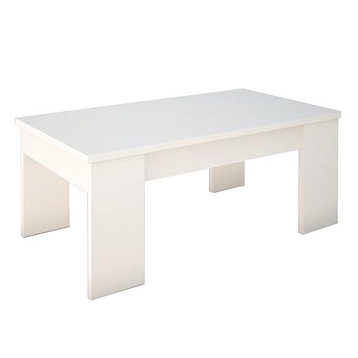 Abitti Mesa de Centro Color Blanco Brillo, elevable, para Comedor ...