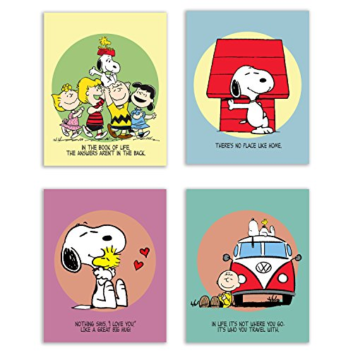 Charlie Brown and Snoopy Bedroom Nursery Wall Art Prints - Set of 4 (8x10) Poster Photos - Peanuts and Quotes Decor -