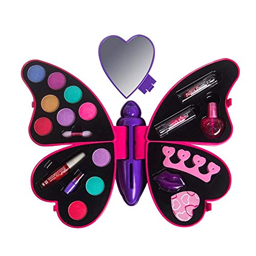 Jannsyhop Butterfly Makeup Essential Set Non Toxic Washable Real Girl Makeup Kit Deluxe Cosmetic Palette with Mirror for Girls Beauty Cosmetics Girl Fashion -