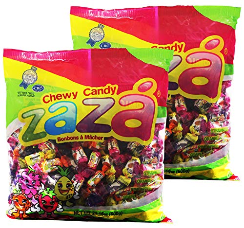 Zaza Assorted Bulk Chewy Candy, Colorful Flavorful Fruity Individually Wrapped Kosher Sweet candies, Halloween Trick or Treat, Variety Pack for Holiday Party, Valentines, Christmas, Thanksgiving, or Office Reception Desk As -