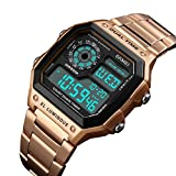 2018 Fashion Men Sports Watches Count Down Waterproof Watch Stainless Steel Electronic Digital Wristwatches (Rose Gold)